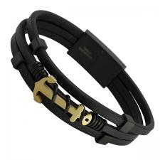 Black Leather Bracelet and Gold PVD Anchor with Magnetic Clasp