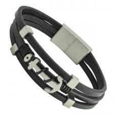 Black Leather Bracelet with Silver Anchor and Magnetic lock