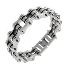 Mens Steel and Black Motorcycle Chain Biker Bracelet