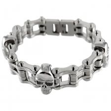 Motorcycle Chain with Skulls Bracelet