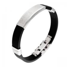 Rubber Bracelet, Padre Nuestro Prayer, Steel Plate, Fold over lock, Black