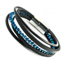 Black Leather Multi Strand Bracelet w/ Stainless Steel Closure w/ Blue Beads