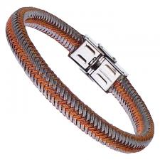 Rose Gold and Steel Colored Braided Bracelet with Stainless Steel Clasp