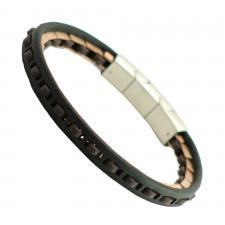Stainless Steel w/ Leather Bracelet