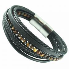 Multi-String Leather & S.Steel Bracelet W/ Tiger Eye Macrame Beads