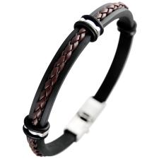 Rubber and Synthetic Leather Bracelet w/  Stainless Steel Accents