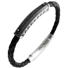 Braided Leather and Stainless Steel Bracelet with Adjustable Clasp