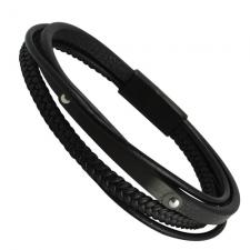 Black Leather Bracelet with Engravable Bar and Magnetic Clasp