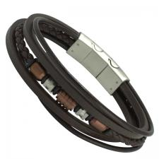 Triple Brown Leather Bracelet with Stainless Steel Beads