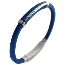 Men's Blue Rubber and Textured Stainless Steel Bracelet.
