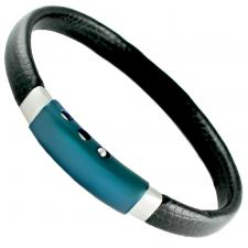 Black Leather Bracelet W/ Blue Stainless Steel Adjustable Clasp