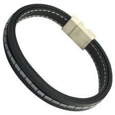 Black Leather Multi String Bracelet w/ Hematite Beads