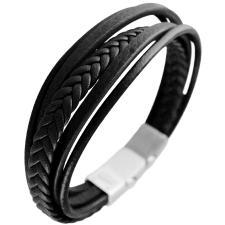 Black Leather Multi Strand Bracelet w/ Stainless Steel Closure
