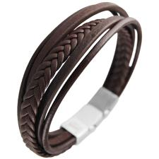 Brown Leather Multi Strand Bracelet w/ Stainless Steel Closure