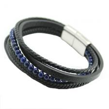 Black Multi String Braided Leather & Stainless Steel Bracelet w/ Lapis Color Beads