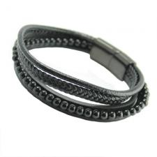Black Multi String Braided Leather & Stainless Steel Bracelet w/ Onyx Color Beads