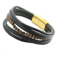 Black Multi String Braided Leather & Stainless Steel Bracelet w/ Tiger Eye Color Beads