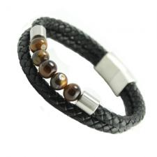 Black Multi String Braided  Leather & Stainless Steel Bracelet w/ Tiger Eye Beads