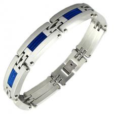 Men's Stainless Steel Bracelet with Blue Steel Cable Accent