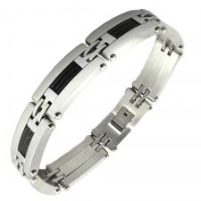 Men's Stainless Steel Bracelet with Black Steel Cable Accent