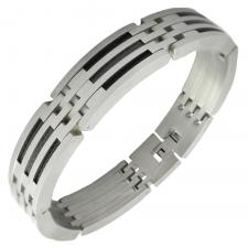 Men's Stainless Steel Bracelet with Black Steel Cable and Carbon Fiber Accents
