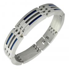 Men's Stainless Steel Bracelet with Blue Steel Cable and Carbon Fiber Accents