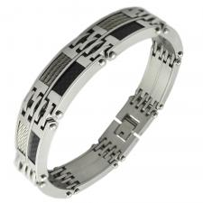 Men's Stainless Steel Bracelet with Black Carbon Fiber and Steel Cable Accents
