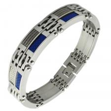 Men's Stainless Steel Bracelet with Blue Carbon Fiber and Steel Cable Accents