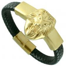 Gold PVD Stainless Steel & Leather Bracelet W/ Lion Head
