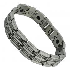 Mens Silver Stainless Steel Textured Bracelet