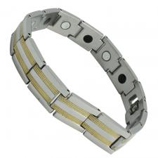 Men's Stainless Steel Two Tone Line Streak Texture Design Bracelet