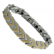 Men's Two Tone Stainless Steel Arrow Textured Bracelet
