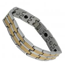 Men's Two Tone Stainless Steel Streak Texture Design Bracelet