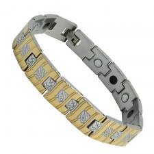 Men's Two Tone Stainless Steel Wavy Textured Bracelet
