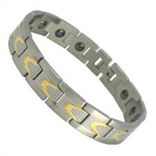 Stainless Steel Magnetic Bracelet with Gold PVD Designs