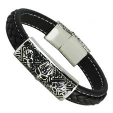 Leather Bracelet with Skull Steel Bar and Magnetic Clasp