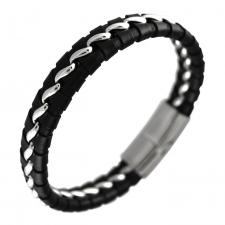 Men's Leather Bracelet with Stainless Steel links