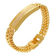 Gold PVD Double Strand Franco Cuban Link ID Bracelet With Pave Stones