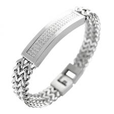 Double Strand Franco Cuban Link ID Bracelet for Men With Pave Stones
