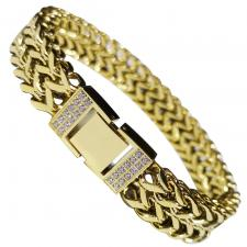 Gold PVD Stainless Steel Bracelet with Micro Pave In Lock
