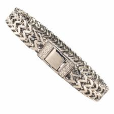 Stainless Steel Franco Link Bracelet w/ Micro Pave Cz in Closure