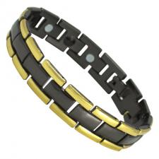 Stainless Steel Gold & Black PVD Magnetic Bracelet