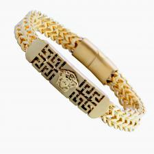 Stainless Steel Gold Pvd Bracelet w/ ID Bar on Center