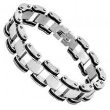 Stainless Steel and Rubber Bracelet w/ Rectangular Spacer Links