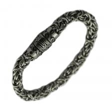 Thick Stainless Steel Bracelet with Ancient Design on Magnetic Closure