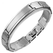 Stainless Steel ID Bracelet w/ Shiny Outer Edges and Satin Finished Center
