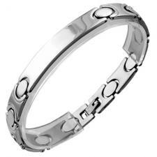 Stainless Steel ID Bracelet w/ Adjoining Oval and Razor Shaped Links