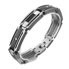 Stainless Steel Mens Bracelet w/ Black PVD, Cable, And CZ Accents