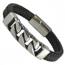 Black Leather Bracelet with Steel Design Bar and Magnetic Clasp