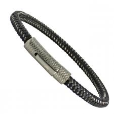 Black Cable Wire Bracelet with Stainless Steel Clasp